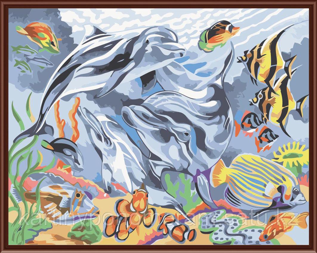 """Картины по номерам  """"Дельфины и скалярии 30х40"""""""