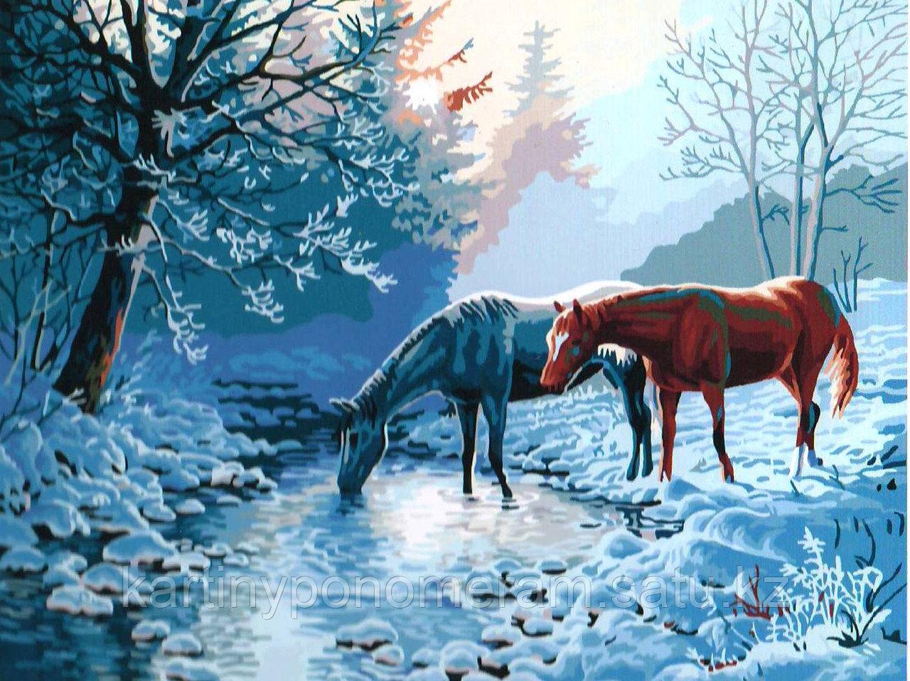 """Картина по номерам - """"Лошадки в зимнем лесу"""""""