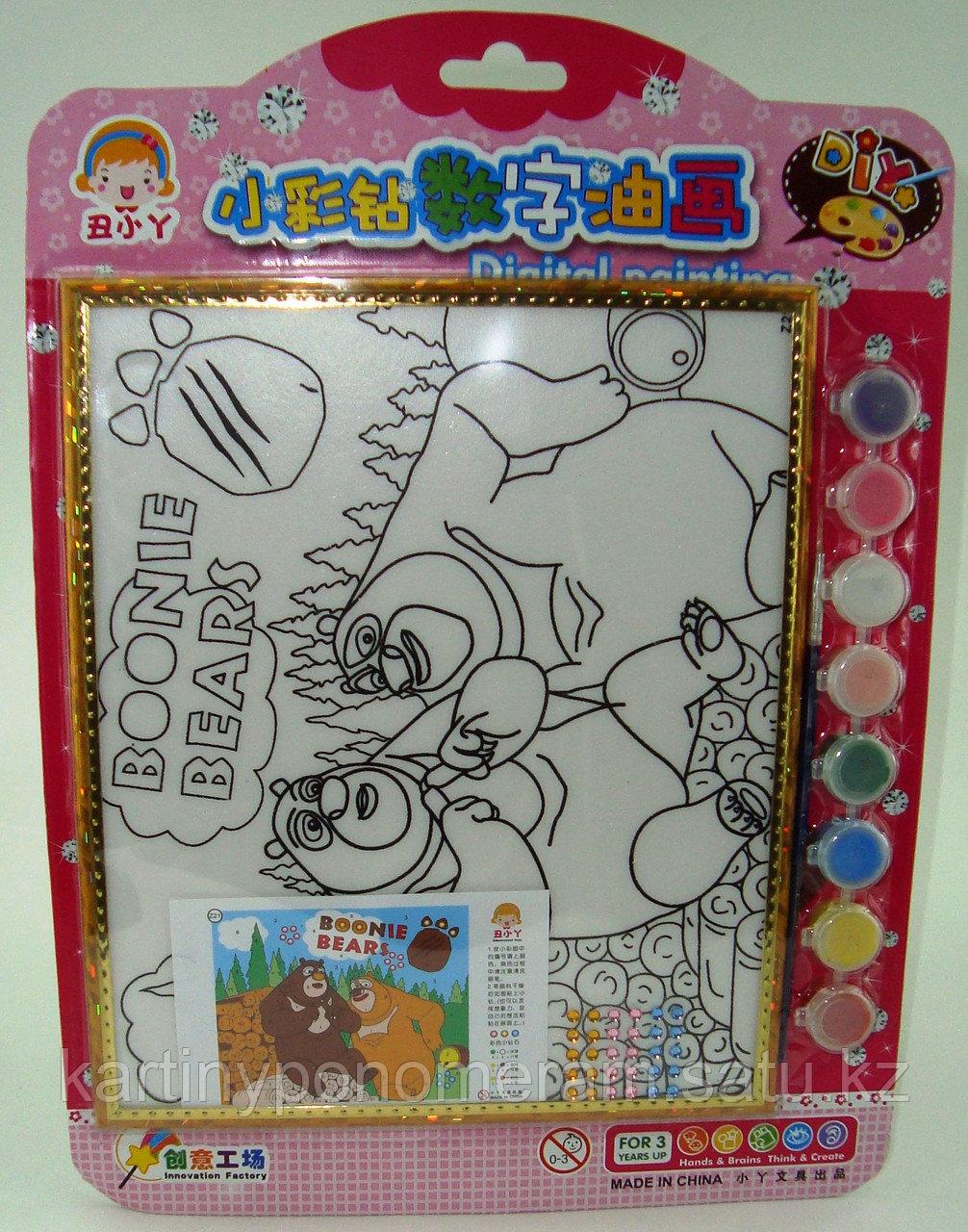 Картины-раскраски для детей , Медведи 24x20