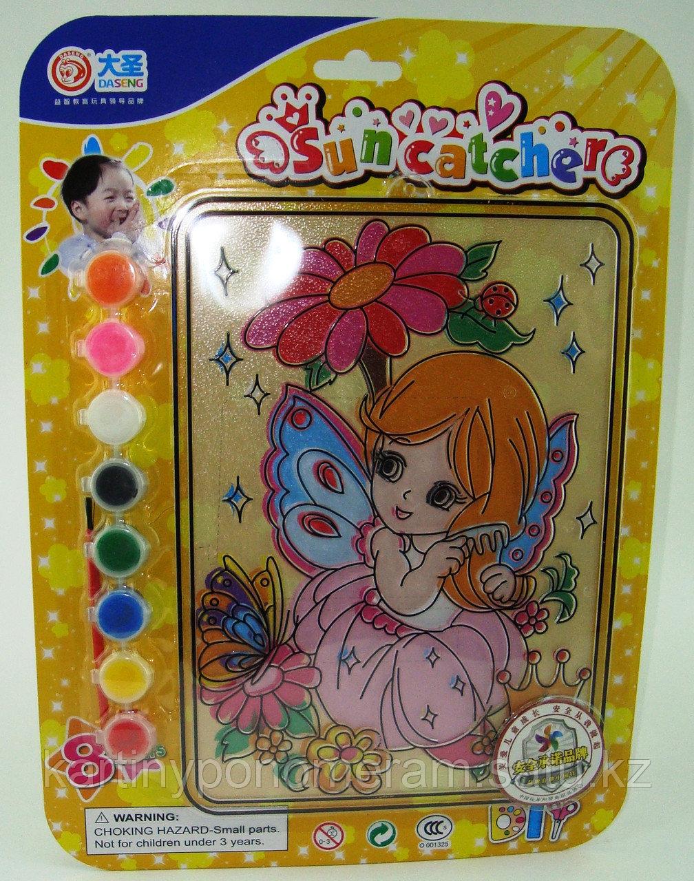 Витражные картины-раскраски для детей , Дюймовочка и бабочка 24x20