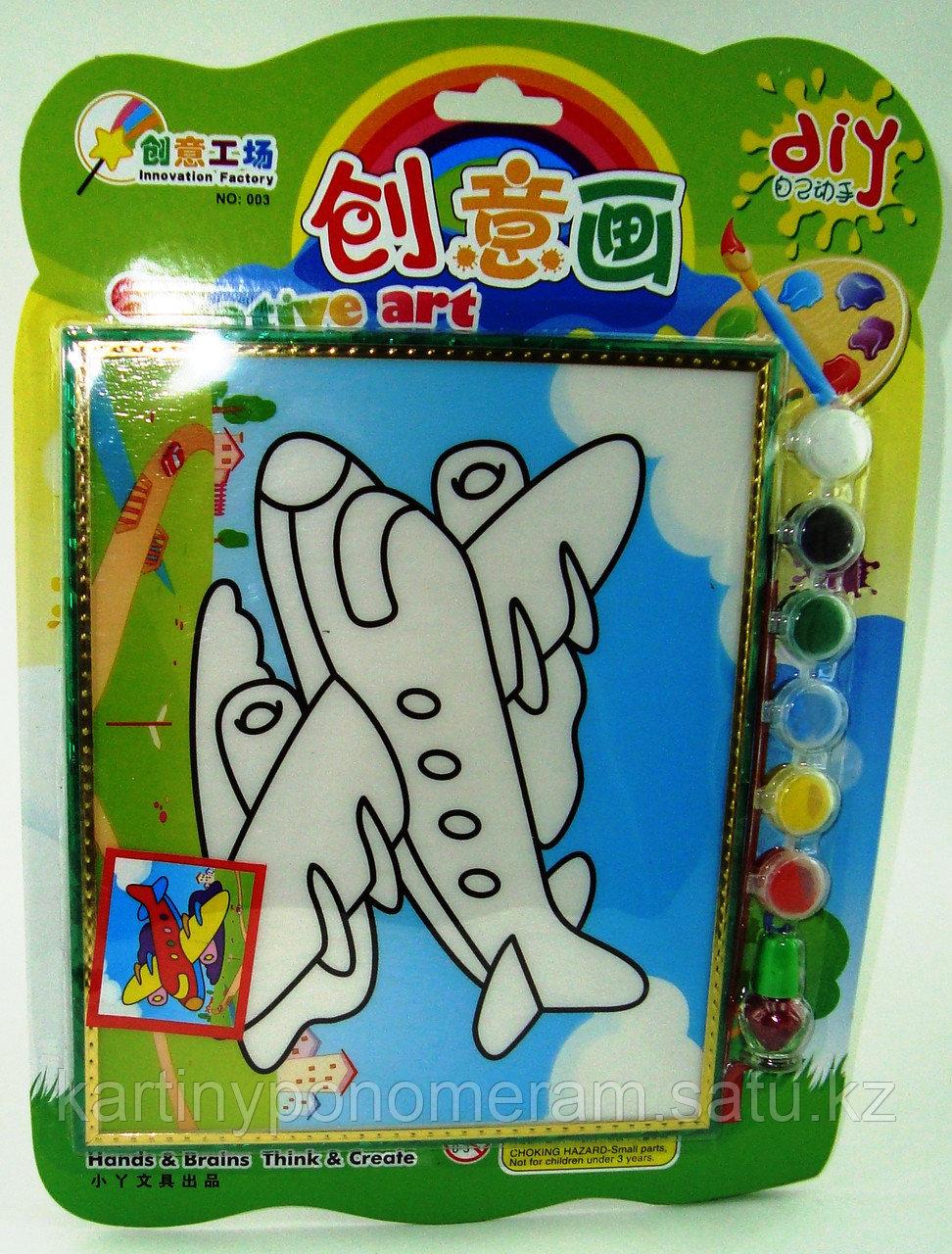 Картины-раскраски для детей 3D, Самолет 23x20