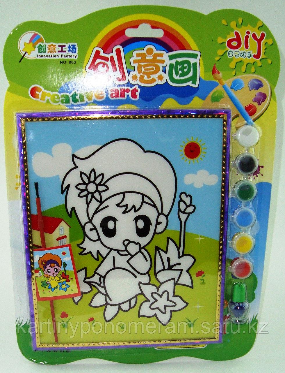 Картины-раскраски для детей 3D, Девочка в цветах 23x20