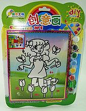 Картины-раскраски для детей 3D, Девочка и тюльпаны 23x20
