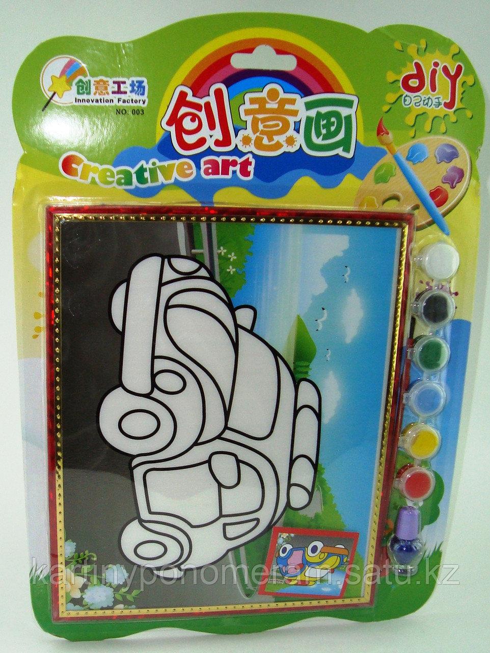 Картины-раскраски для детей 3D, Машинка 23x20