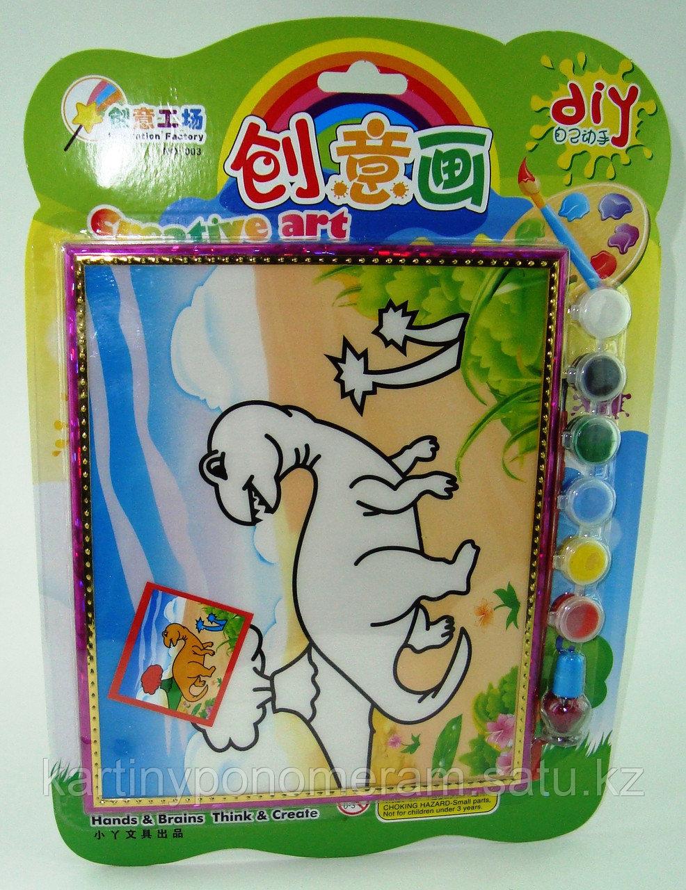 Картины-раскраски для детей 3D, Динозаврик 23x20