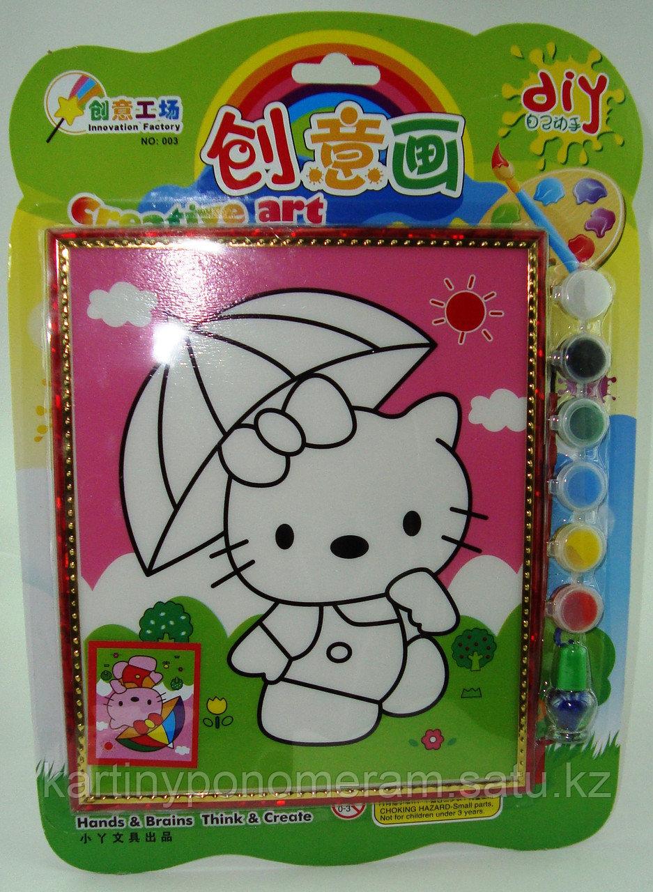 Картины-раскраски для детей 3D, Китти под зонтиком 23x20