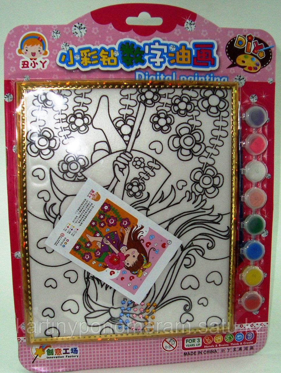 Картины-раскраски для детей , Девочка в маках 24x20