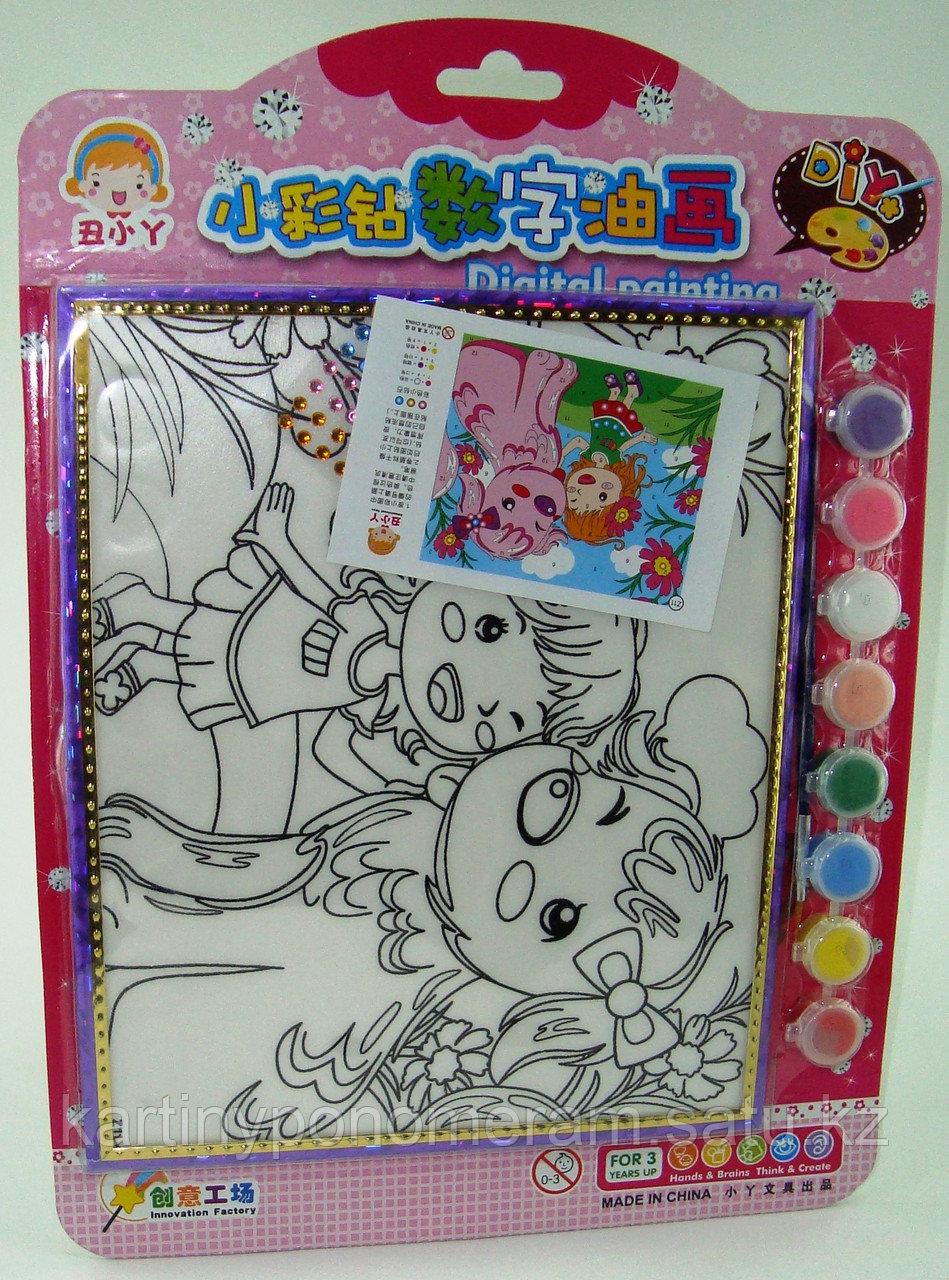 Картины-раскраски для детей , Девочка с собачкой 24x20