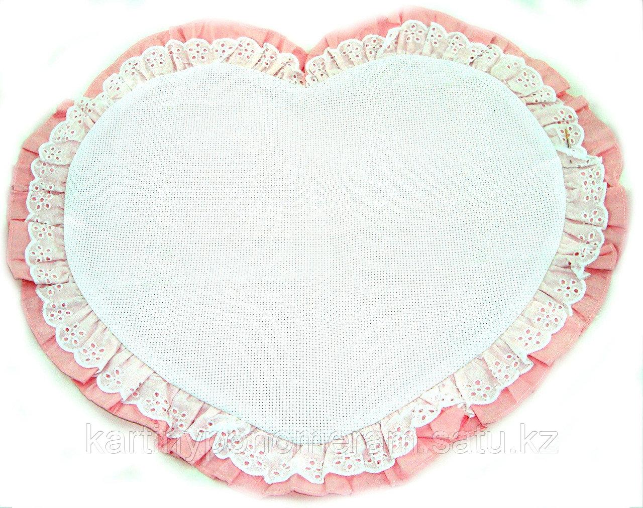 Наволочка с канвой для вышивания, розовая