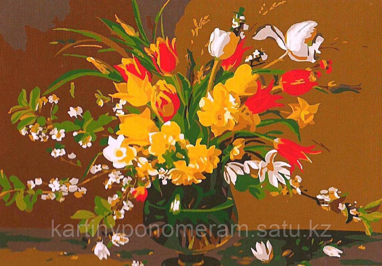 """Картина по номерам - """"Букет с тюльпанами и нарциссами"""""""