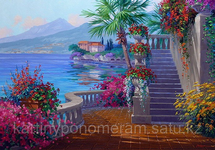 "Картина по номерам ""Балкон в цветах"""