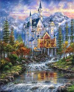 """Картина по номерам """"Водопад у замка"""""""