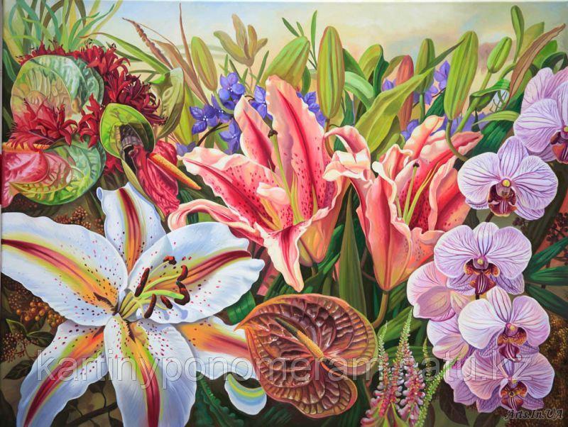 "Картина по номерам ""Лилия и орхидея"""