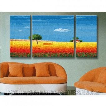 """Картина раскраска """"Цветущее поле 60х120см"""",триптих"""