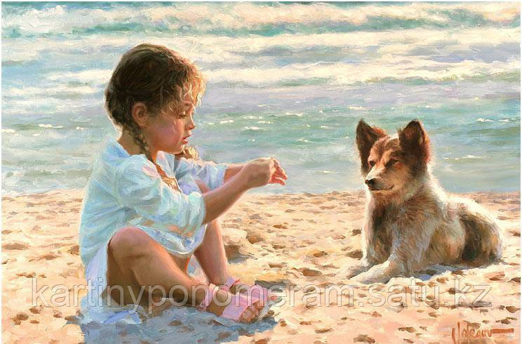 """Картина по номерам """"Девочка с собачкой на пляже"""""""