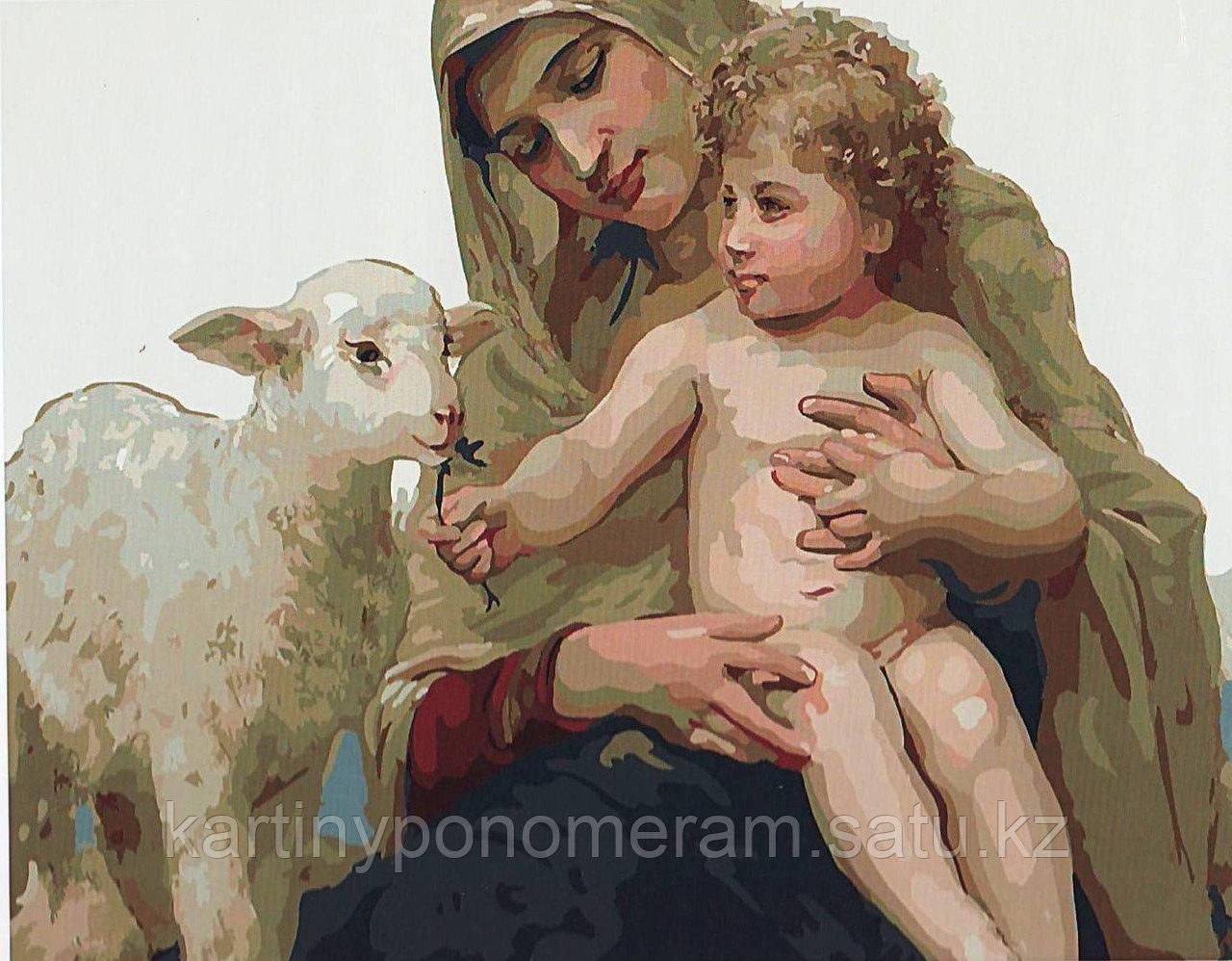 """Картина по номерам """"Дева Мария с Иисусом и ягненком"""""""