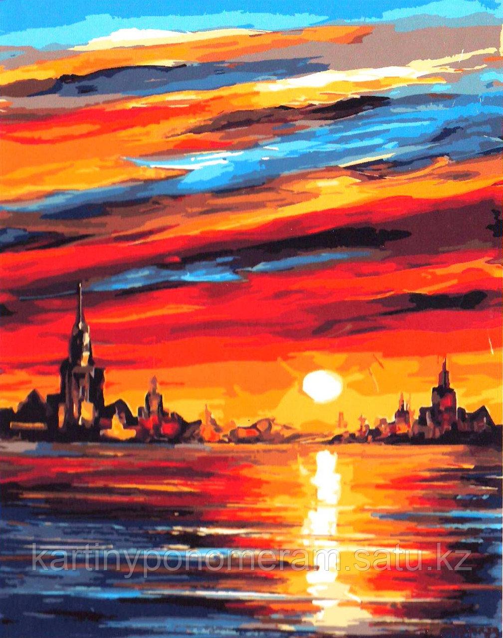 """Картина по номерам """"Вечернее небо. Л.Афремов"""""""