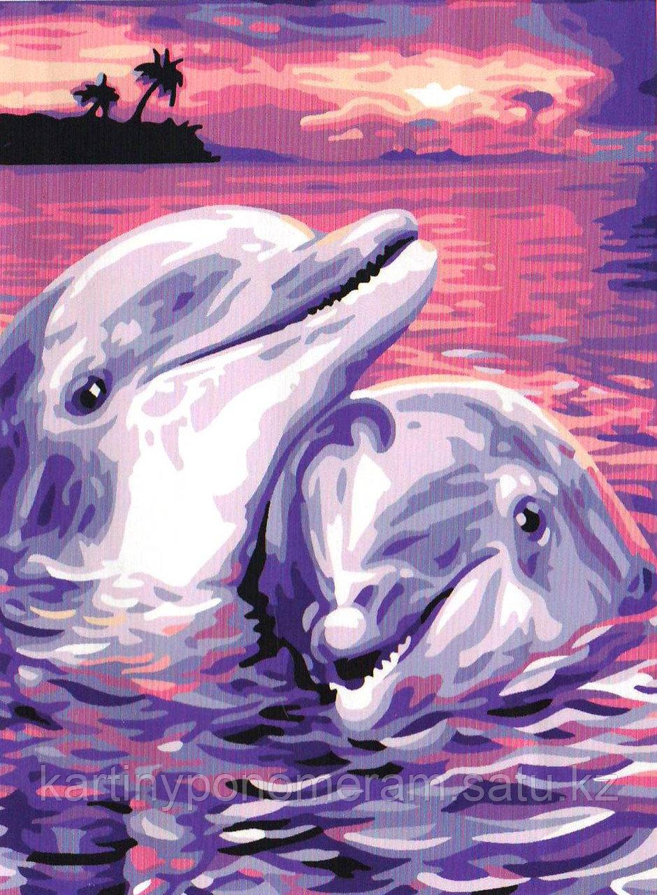 """Картина по номерам """"Дельфины на закате"""""""