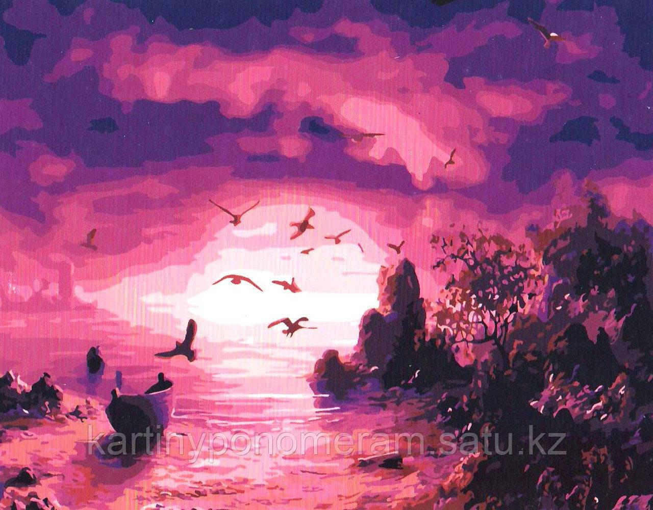 """Картина по номерам """"Малиновый закат"""""""