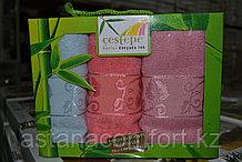 Подарок для женщины. Подарочный набор бамбуковых кухонных полотенец из 3 шт. Турция.