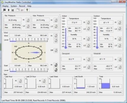 Интерфейс программы EasyWeather для работы с погодными данными метеостанции