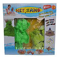 Набор кинетического песка для детей Kinetic Moving Sand, живой песок (зеленый), фото 1