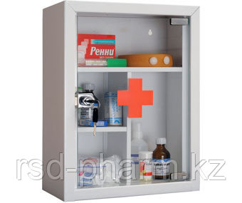 Аптечка металлическая со стеклянной дверцью AMD-G, фото 2