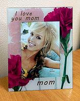 "Настольная фоторамка ""I love you mom"", стеклянная"