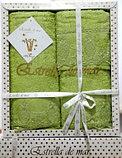 Подарок для женщины - набор бамбуковых полотенец с кружевом, фото 3
