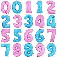 Цифра , розовый с сердечками, голубой со звездами