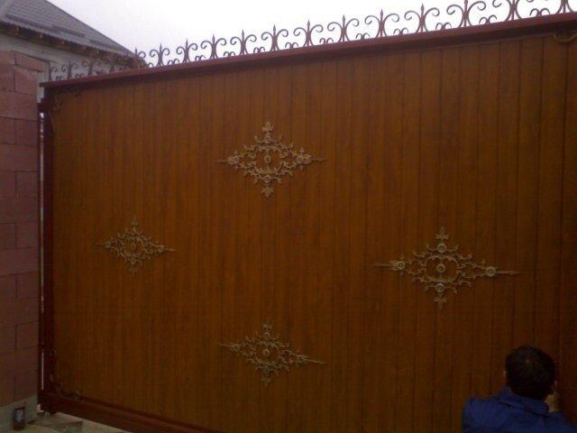 Ворота откатные золотой дуб