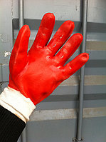Перчатки на ХБ подкладке облитые защитным латексным покрытием с трикотажным манжетом, фото 1