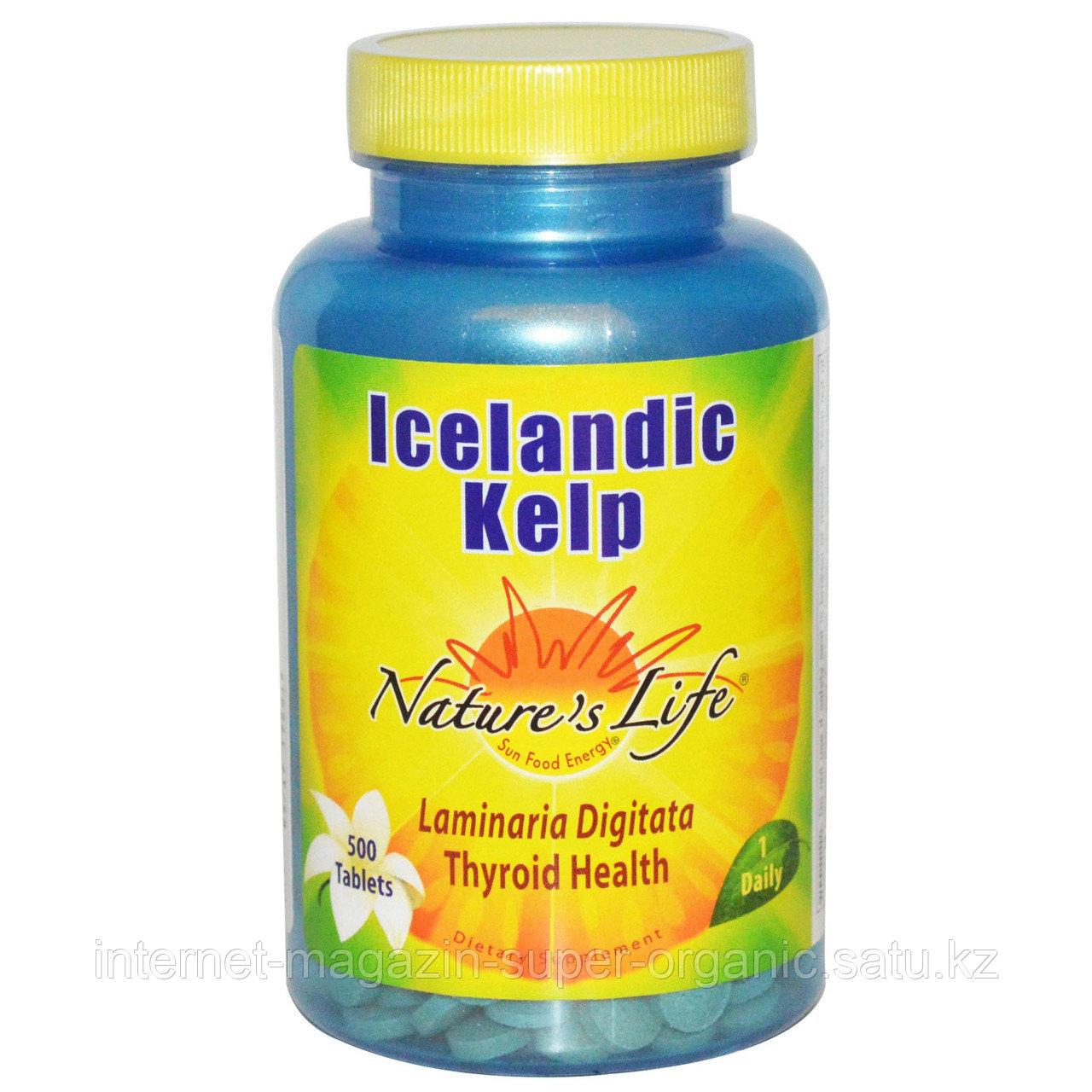 Ламинария исландская, 500 таблеток, Nature's Life 500 таблеток