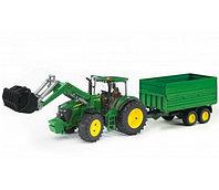 Bruder Игрушечный Трактор John Deere 7930 с погрузчиком и прицепом (Брудер)