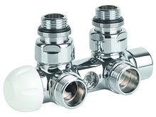 Клапан термостатический комбинированный угловой (хром)