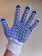 Перчатки Х/Б 7 кл. с ПВХ покрытием (волна), фото 1