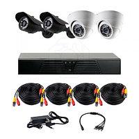 AHD готовый комплект видеонаблюдения из 2 внутренних и 2 уличных камер