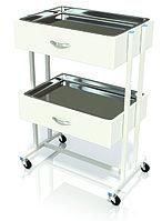 Столик хирургический с 2-мя выдвижными ящиками и 2-мя металлическими поддонами (никелированными) СИ-01