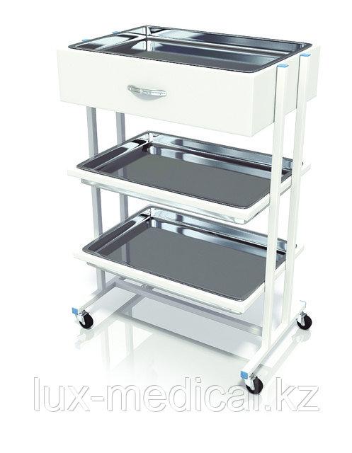 Столик хирургический с 1-им выдвижным ящиком и 3-мя никелированными поддонами СИ-02