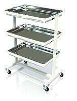 Столик процедурный с 3-мя металлическими поддонами (никелированными) СИ-07