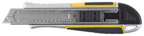 "Нож STAYER ""PROFI"" обрезиненная рукоятка Super Grip,метал. корпус,автостоп,допфиксатор,кассета на 6 лезвий,18м"