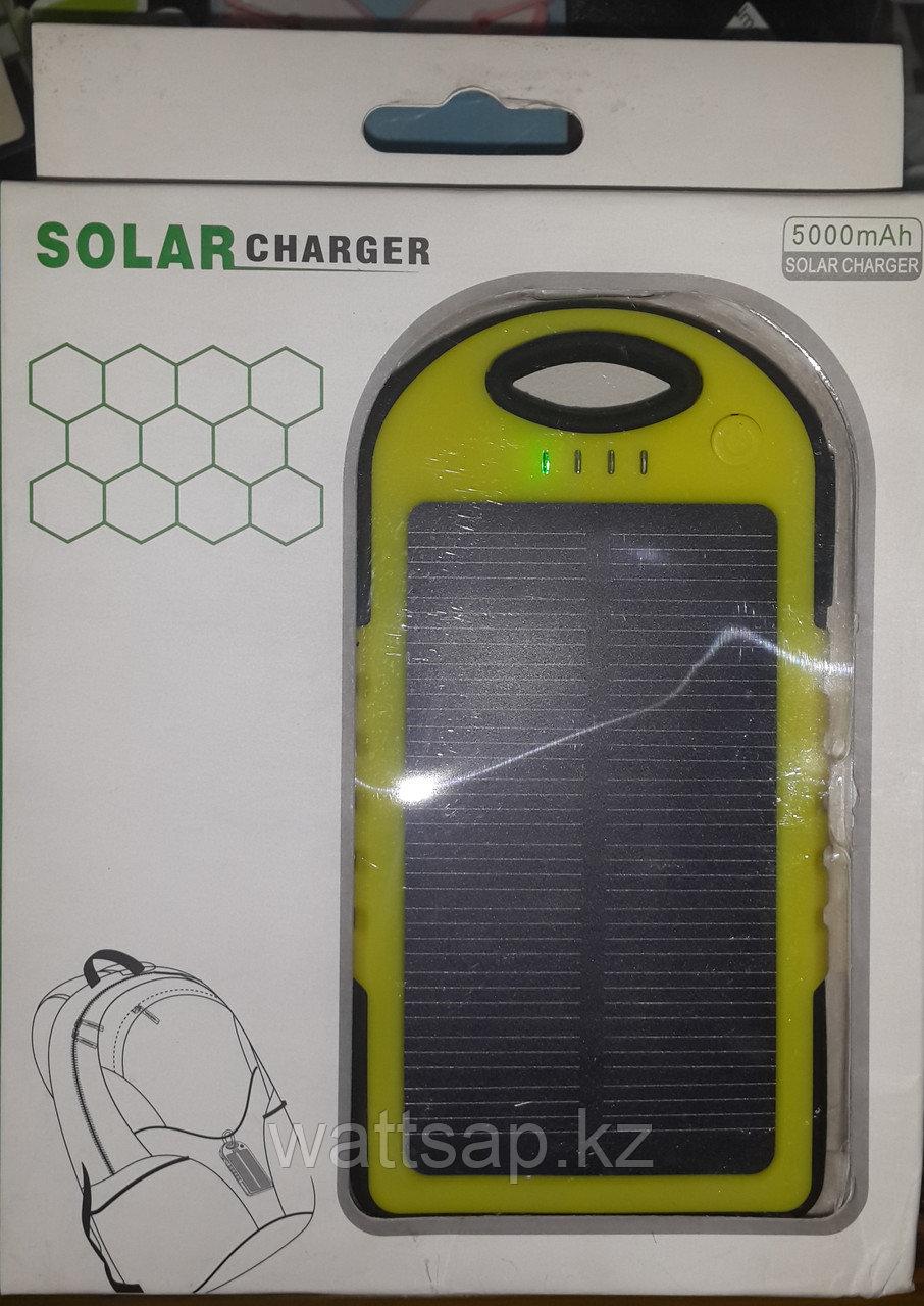 Power bank 5000 mAh с солнечной батареей для зарядки мобильных устройств