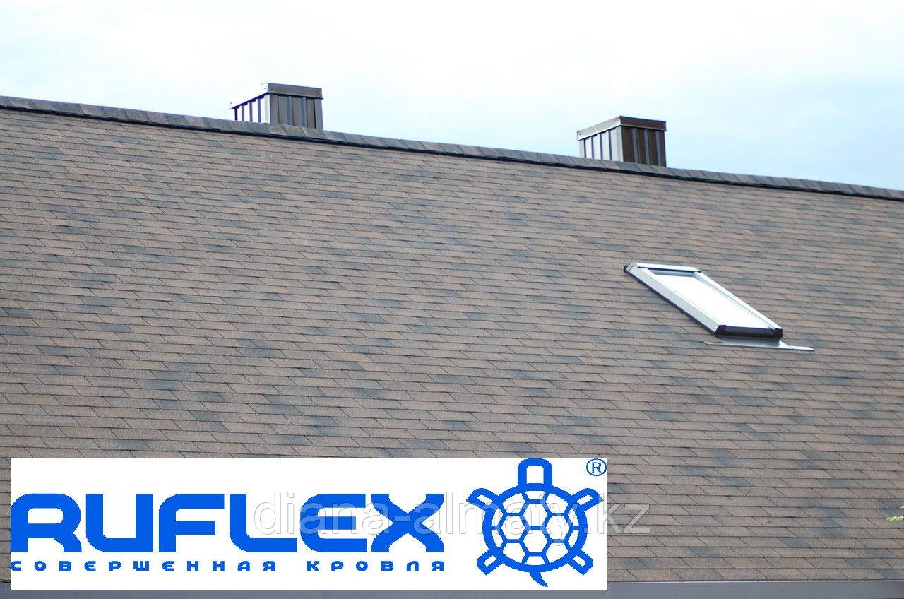 Гибкая черепица Ruflex (Коллекция Tab) Бронза, SBS (СБС) модифицированный битум, Гарантия 35 лет!