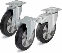 Колеса для тележки большегрузные с эластичной цельнолитой резиной,с алюминиевым основанием