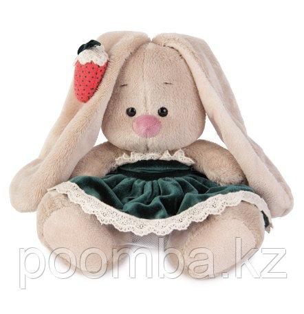 Игрушка мягкая Зайка Ми в бархатном платье и клубничкой на ушке