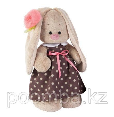 Игрушка Зайка Ми  в кофейном платье и цветком на ушке