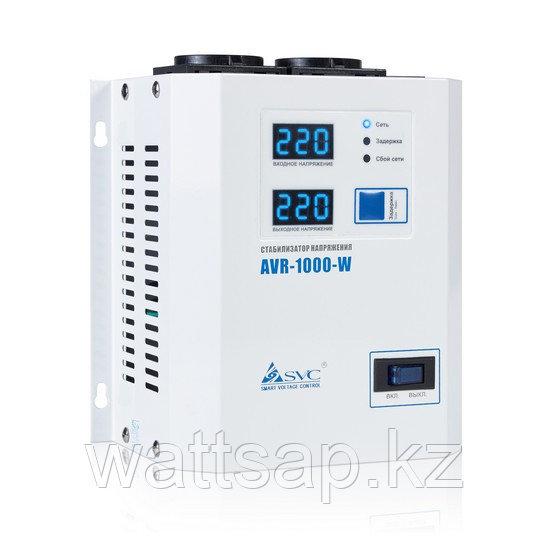 Стабилизатор (AVR), SVC, AVR-1000-W(1000Вт), LED-дисплей, Диапазон работы AVR: 140-280В, 2 вых.: Shuko CEE7, Длина кабеля 1.2 м., Белый