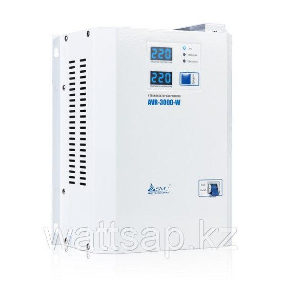 Стабилизатор (AVR), SVC, AVR-3000-W(3000Вт), LED-дисплей, Диапазон работы AVR: 140-280В, Клеммная колодка, Длина кабеля 1.2 м., Белый