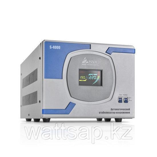 Стабилизатор (AVR), SVC, S-4000(3000Вт), Сервоприводный, LCD-дисплей, Диапазон работы AVR: 140-260В, Клеммная колодка, Серо-синий