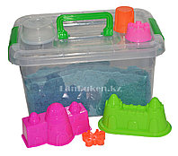 Кинетический песок для детей большой (1 класс), живой песок (голубой)
